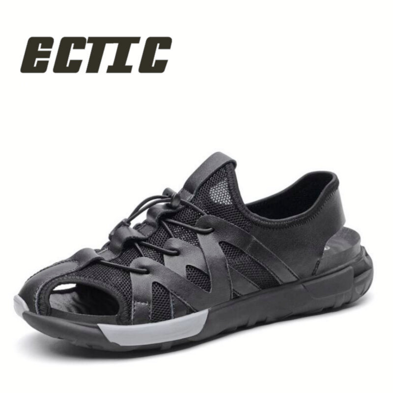 ECTIC New Men Sandals Genuine Leather Hollow Breathable Non-slip Casual Outdoors Beach Shoes Mature mans summer shoes DY-16