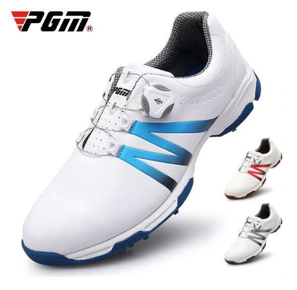 2019 PGM golf shoes mens waterproof shoes Double patent Rotating shoelaces 3D printing microfiber leather2019 PGM golf shoes mens waterproof shoes Double patent Rotating shoelaces 3D printing microfiber leather