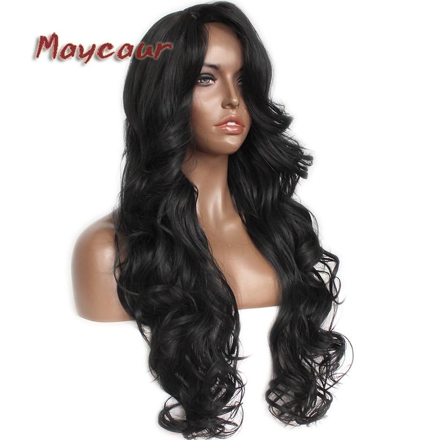 Glueless μαύρο μακρύ κυματιστό περούκα με - Συνθετικά μαλλιά - Φωτογραφία 3