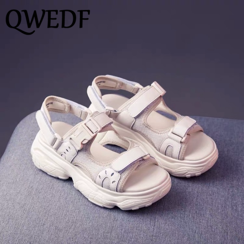 QWEDF Women Sandals 2019 Summer Shoes Platform  Ladies Flat Woman Summer Shoes Chunky Zapatos Chaussures Sandales Femme  SQ-49