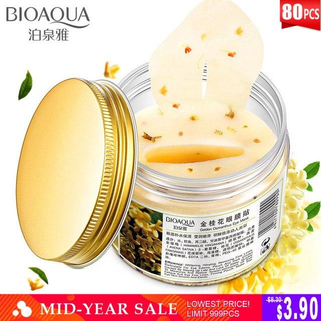 BIOAQUA Gold Osmanthus Eye Patches Mask Collagen Gel  Protein Sleep Patche Remover Dark Circles Eye Bag Eye care 80Pcs/ Bottle