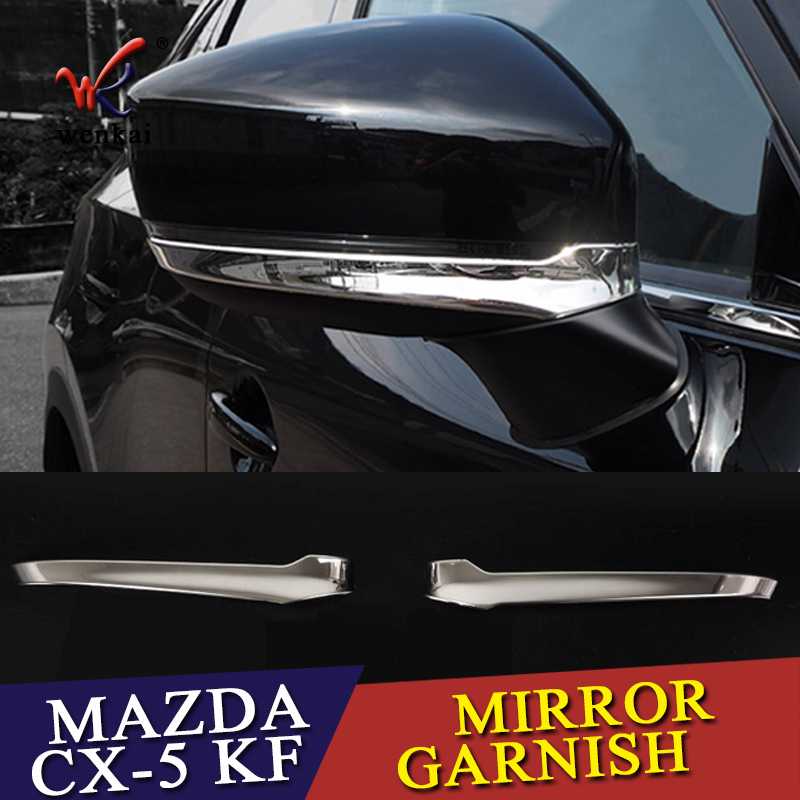 WENKAI For <font><b>Accessories</b></font> High Quality ABS Chrome Car Door Side Rearview Mirror Cover Trim 2pcs/set For <font><b>Mazda</b></font> <font><b>CX5</b></font> CX-5 KF <font><b>2017</b></font> 2018 image