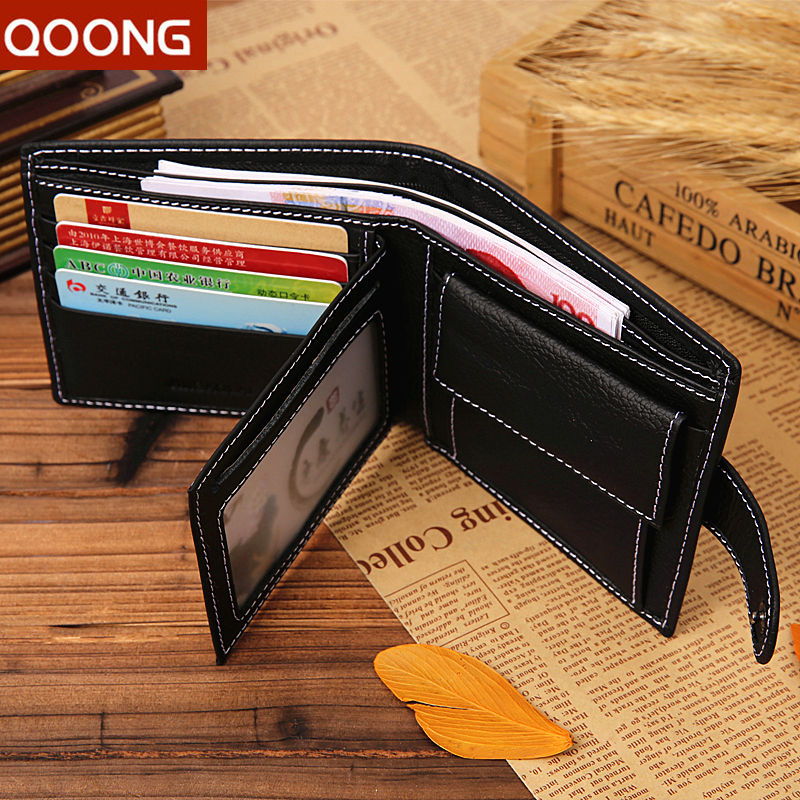 QOON Male Business 100% Genuine Leather Wallets Men Coin Purse Holder Credit Id Card Holder Money Bag Pouch Carteras Ml1-036 bolsas 2017 slim credit card coin holder mini wallet women id case purse bag pouch men wallets carteira feminina