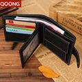 QOON Negocios Masculino 100% Cuero Genuino de Los Hombres Monedero Bolsa Bolsa Holder Id Credit Card Money Holder Carteras Ml1-036
