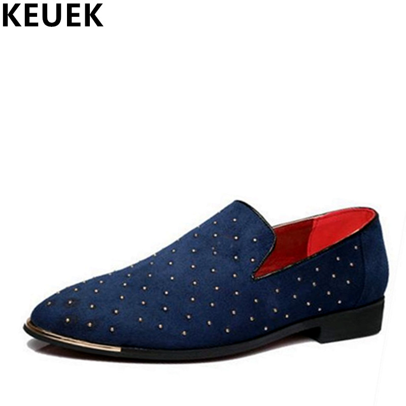 England style Pointe toe rivet shoes Large size Slip On Flats Summer Men Loafers Casual shoes Black Blue 01B england style slim fit suit black size l