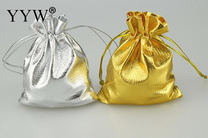 50x70mm 100pcs/Bag Adjustable Jewelry Packing Silver/ Gold Colors Drawstring Velvet Bag Wedding Gift Bags  Pouches