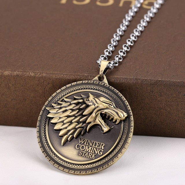 10pcslot movie game of thrones stark family crest metal pendant 10pcslot movie game of thrones stark family crest metal pendant necklace bronze pendants silver aloadofball Images