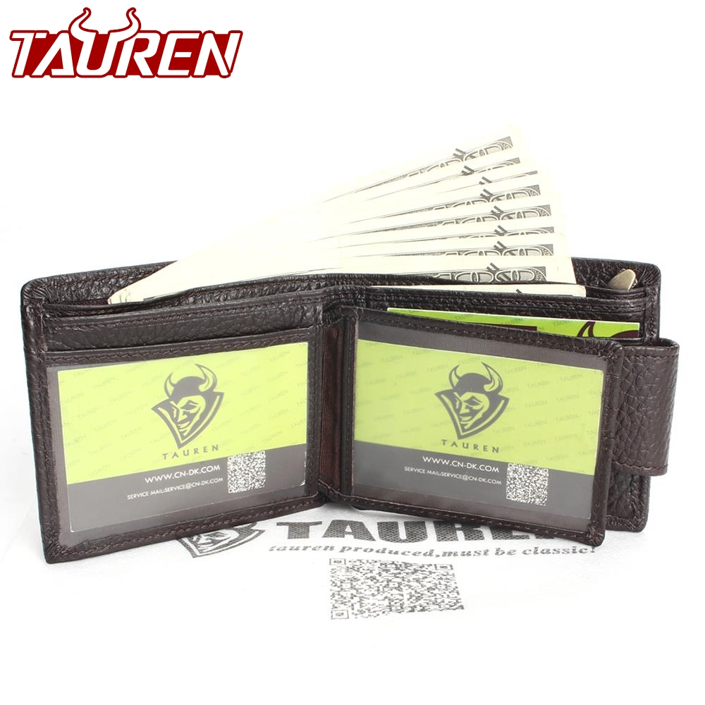 Coffee Color Man Vintage Wallet With Button Men's Genuine Leather Men Wallets men button