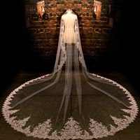3.5 Meters Long Wedding Veil White/Ivory Lace Edge Wedding Accessories voile mariage 2019 Cathedral Bridal Veils velo de novia