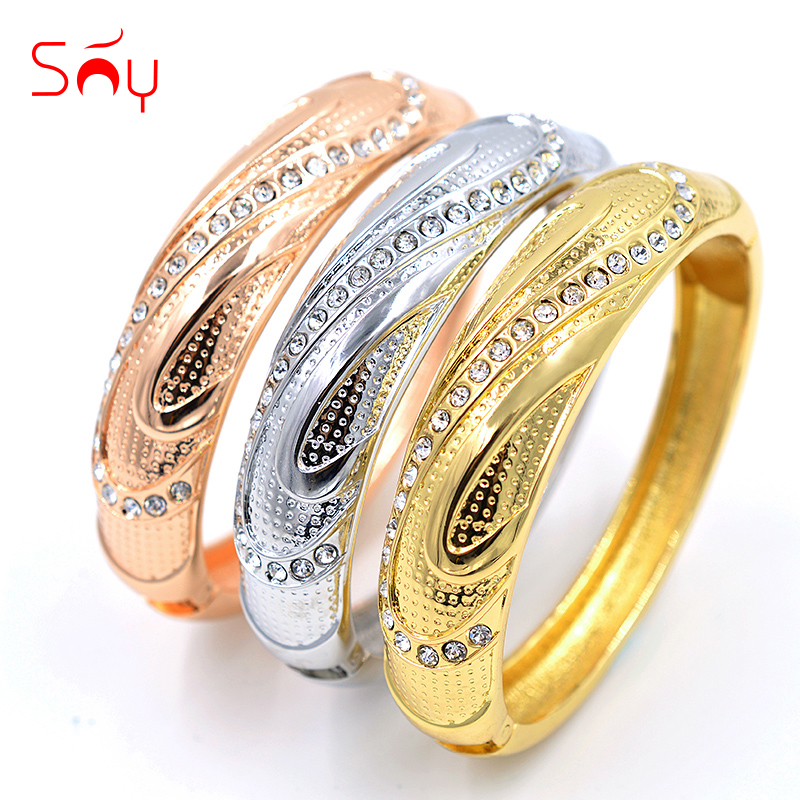 Sunny Jewelry Trendy New Arrivals Jewelry Dubai Fashion Cuff Bracelet Bangle Set For Women Cubic Zirconia Water Drop For Party лонгслив мужской craft mind run цвет голубой 1903948 1336 размер l 50