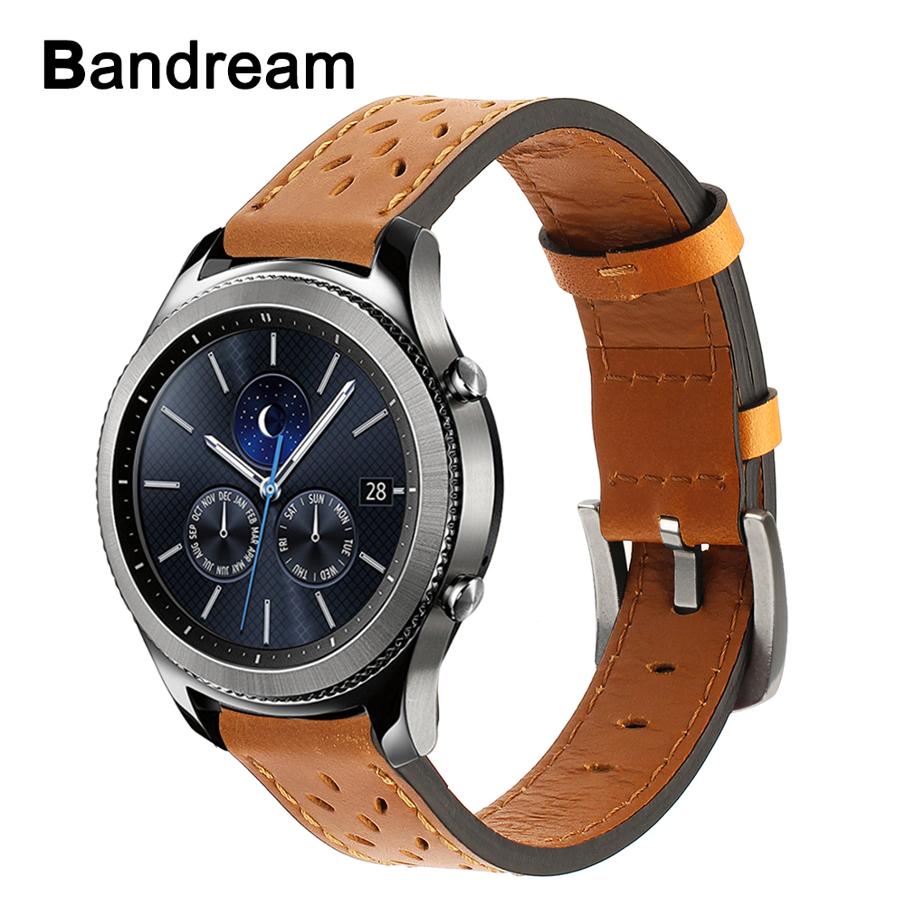 France Genuine Leather Watchband Trefoil Pattern for Samsung Gear S3 Classic Frontier Quick Release Watch Band Steel Clasp Strap