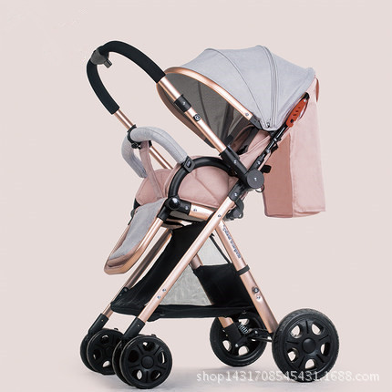 High landscape stroller ultra light can sit and fold two-way four-wheel shock absorber baby stroller