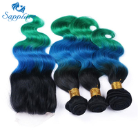 Sapphire Body Wave 3 Bundles With Closure Remy Hair Bundles Ombre Blue Green Hair For Salon