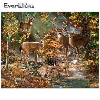 Evershine diamante bordado broca completa redonda animais veados imagens de strass 5d pintura diamante novas chegadas manual hobby