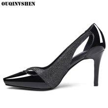 Ouqinvshen женские туфли-лодочки на высоком каблуке шпильки тонкие туфли женская брендовая обувь пикантные повседневные туфли-лодочки из расшитой блестками ткани женские белые туфли-лодочки