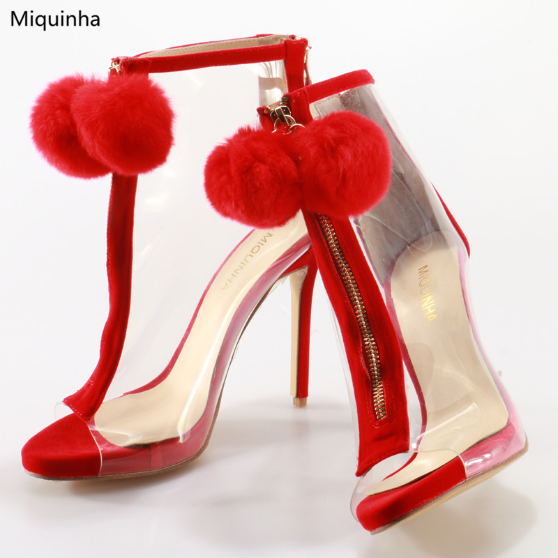 e15e7e83862f Sexy Clear PVC Peep Toe Sandals Boots Red Fur Ball Front Zip Stiletto High  Heel Ankle Boots Runways Fashion Shoes Women Big Size-in High Heels from  Shoes on ...