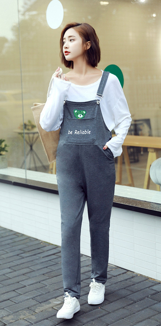 4fe588f27ce47 Women's Cotton Overall Maternity Jumpsuit Loose Rompers Baggy Pants  Pregnancy Bib Lace-up panties Size M L XL XXL DXY8906