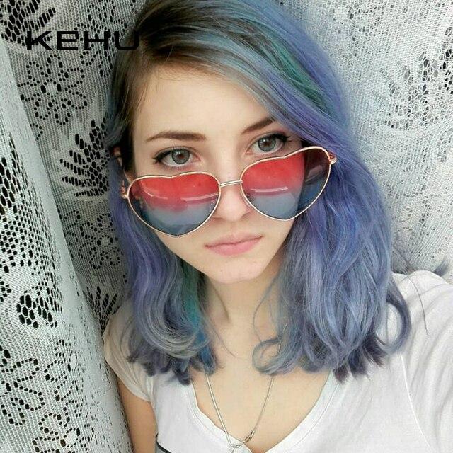 KEHU Heart Shaped Sunglasses Women Metal Frame Reflective Lens Sun protection Sunglasses Men Mirror Oculos De Sol Fashion k9073