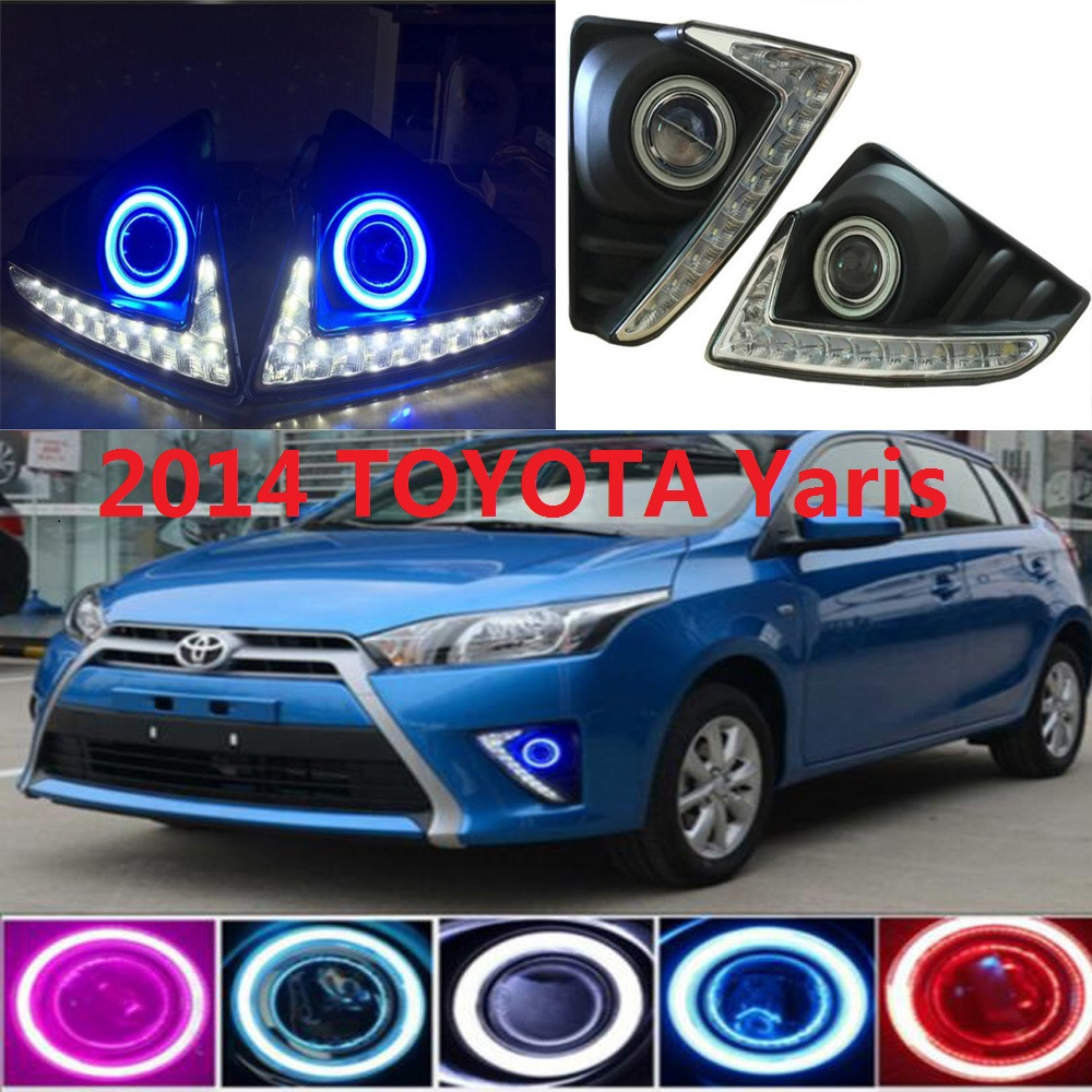 Car styling LED Fog LIGHT Lights For YARIS 2014~2016 1 SET lamps drl BLUE WHITE Refit,projector lens for jaguar s type x type xk 1999 2013 car styling 6000k white 10w ccc high power led fog lamps drl lights