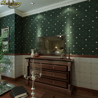 beibehang American country striped lattice wallpaper for wall Living Room Kitchen Bathroom Wall Sticker dark green 3D Wall paper