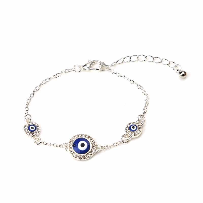 1 Pc Clear Crystal Enamel Evil Eye Armbanden Voor Vrouwen Mode Armband Liefde Gift Zilver Goud