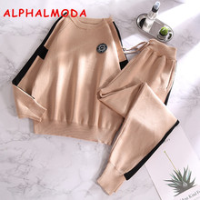 ALPHALMODA Women's Autumn 2018 Loose Casual Sweater + Pants 2pcs Tracksuits Fashion Knitted Long Sleeve Jumpers Knit Trouser Set