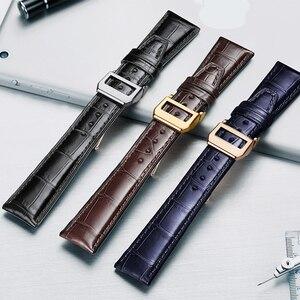 Image 2 - HOWK Armband Ersatz IWC Uhr Band 20mm 21mm 22mm Leder Uhr Band Alligator Bambus Strap Mit Schmetterling schnalle