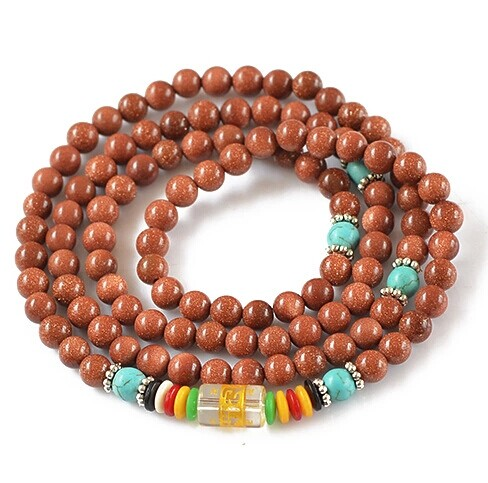6mm Natural Gold Stone Bracelets Jewelry Fine GoldStone 108pcs Beaded Jewelry Bracelets For Woman As Gifts Can Drop Shipping in Bracelets Bangles from Jewelry Accessories