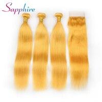 Сапфир 3 Комплект с бесплатным часть закрытие бразильский человеческих волос Ткань Комплект S Желтый Цвет Remy прямой человеческих волос