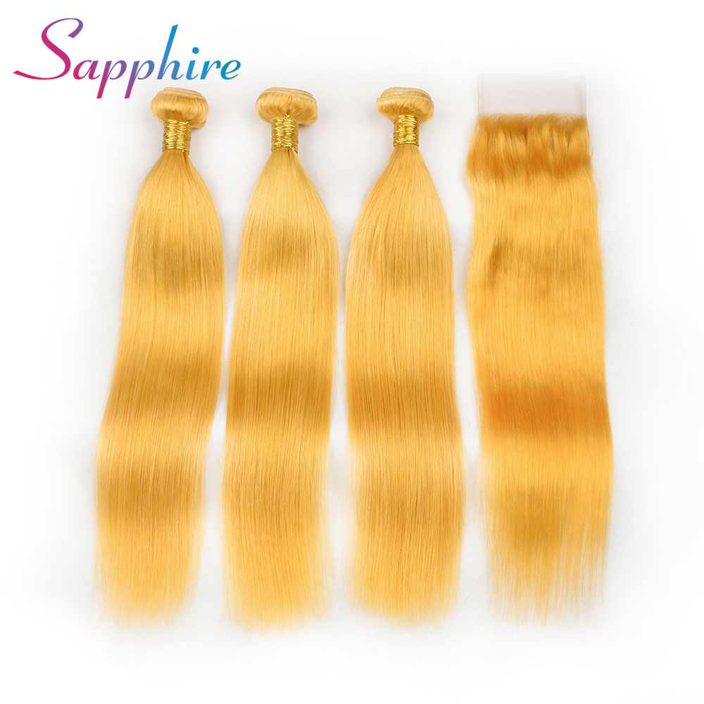 Sapphire 3 Bundle With Free Part Closure Brazilian Human Hair Weave Bundles Yellow Color Remy Straight Human Hair Extension