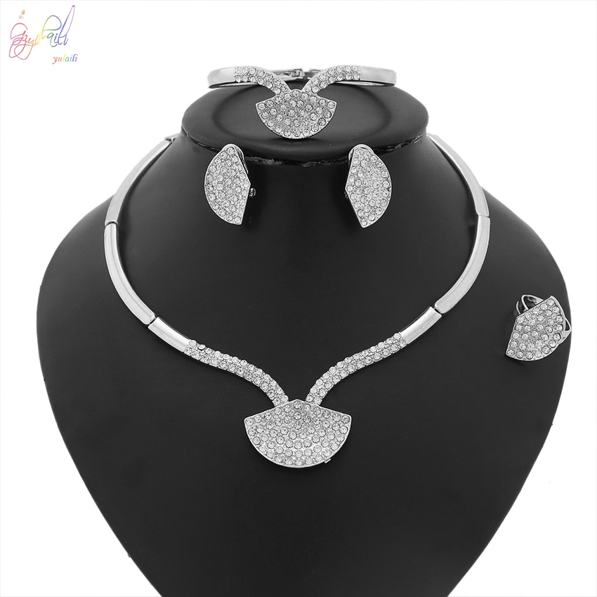 цена на YULAILI Necklace Bracelet Earrings Ring Jewelry Sets for Women Wedding Bridal Party Accessories Zircon Stone