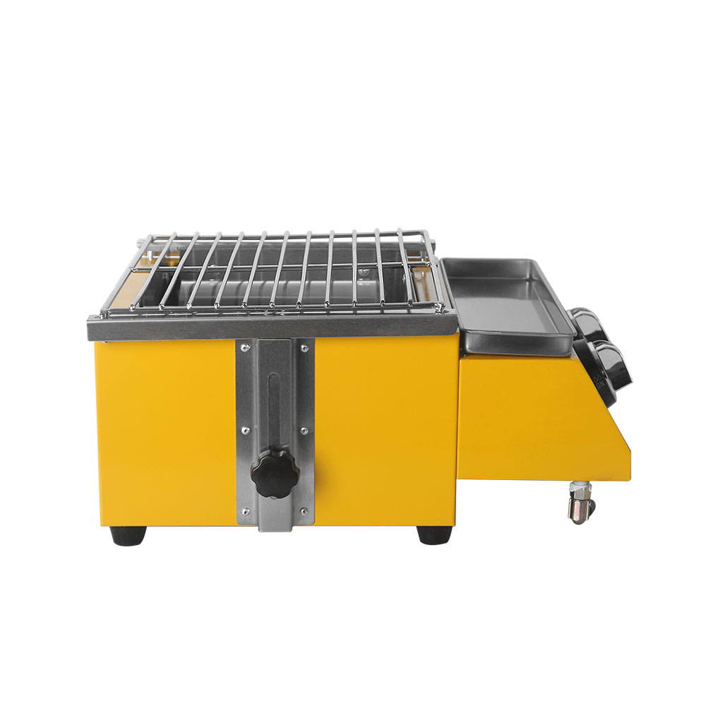 Yellow BBQ Grill Smokeless Spray Paint 2 Burners for Kebab Meat Seafood Glass Stove Shield Outdoor Grill Camping Party Stove in BBQ Grills from Home Garden