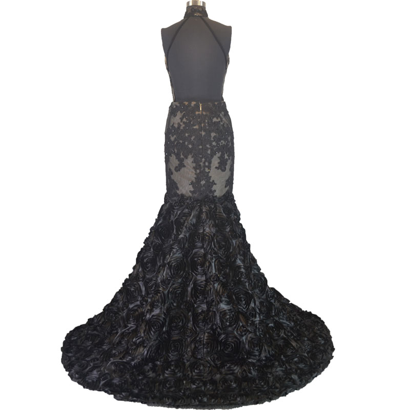3d Rosette Fabric Mermaid Champagne And Black Halter Top Prom Dress