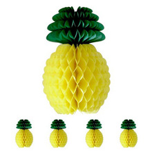 5pcs Honeycomb Pineapple Hanging Decor Garland Table Centerpiece Paper Fruit Summer Tropical Luau Beach Party Wedding