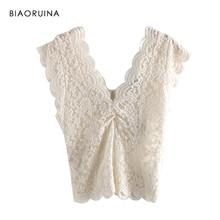 BIAORUINA Women Beige Lace Patchwork Embroidery Tank Tops Female Sexy Hallow Out Double V-neck Tops Ladies Chic Elegant Tops(China)