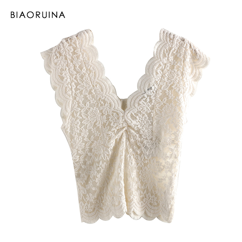 BIAORUINA Women Beige Lace Patchwork Embroidery   Tank     Tops   Female Sexy Hallow Out Double V-neck   Tops   Ladies Chic Elegant   Tops