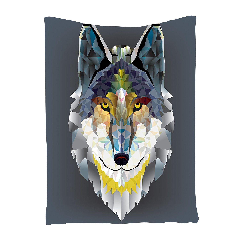 Wolf Tapestry Grey Decor Artistic Graphic Design Coyote Beast Animal Geometric Print, Bedroom Living Kids Girls Boys Room Dorm W