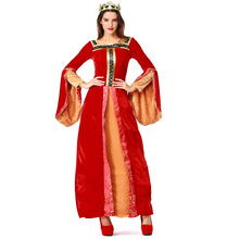 Umorden Red Womens Renaissance Medieval Queen Princess Costume Gown Halloween Carnival Masquerade Party Dress