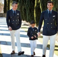 Navy Blue Double Breasted Suits Formal Wedding Suits For Men Fashion Family Matching Suit 2 Piece/Set Boy Kids Party Prom Blazer