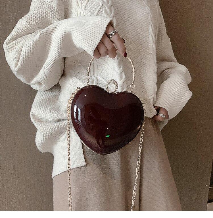 Patent Leather Heart Shape Fashion Shoulder Bag Handbag Totes Bag For Women Crossbody Messenger Bag Bolsa Flap Evening Bag