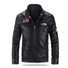 Winter Nieuwe Heren Fleece Leren Jas Jas 6XL Merk Stand Kraag PU Air Force One Pilot Lederen Jassen Mannen Moto jas AF52(China)