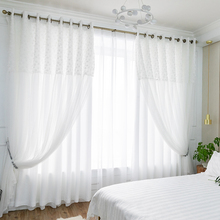 Chicity WHITE Blackout Curtains For Living room Double layer elegant white rose Lace curtain for women