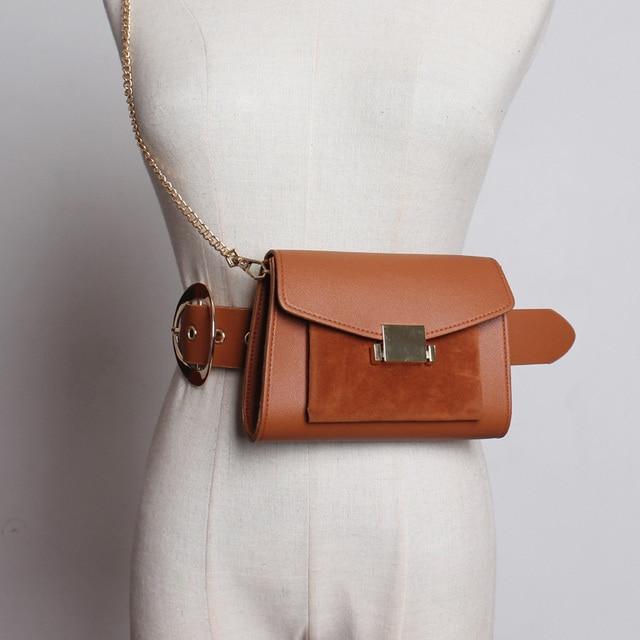 Модная поясная сумка с цепочкой, поясная сумка, Женская Роскошная брендовая кожаная поясная сумка, высокое качество, Прямая доставка 030216
