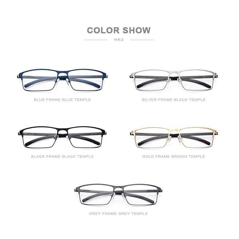 Gafas graduadas de aleación de titanio para hombre ultraligero cuadrado miopía prescripción gafas 2019 Metal óptico sin tornillos gafas - 5
