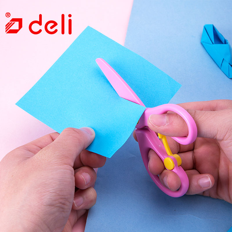 Deli DIY Craft Scissors Children Plastic School Scissors For Paper Border Cutter Scrapbooking Handmade Kids Student Artwork Card