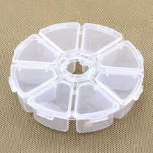 1Pcs 8 Slots Storage Box Case Organizer Display Jewelry Bead Makeup Clear Round Rangement Maquillage