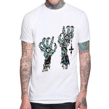 Fashion Zombie Hand Printed Men T-Shirt Short Sleeve Cotton Casual Tops Hipster Demon Eyes Male T Shirts Mens Cool Tee Shirts demon zombie men t shirt new fashion cotton short sleeve white funny 3d printed man t shirt o neck tops mens cool tee shirts