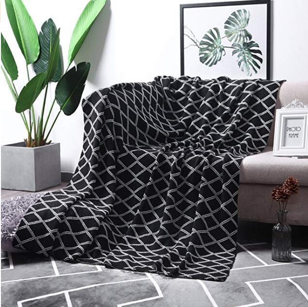100% Katoen Zwart Kabel Knit Gooi Deken Voor Slaapbank Sofa Stoel, Zwart Wit Streep Omkeerbaar Decoratieve Gebreide Leeg De Mondholte Schoonmaken.