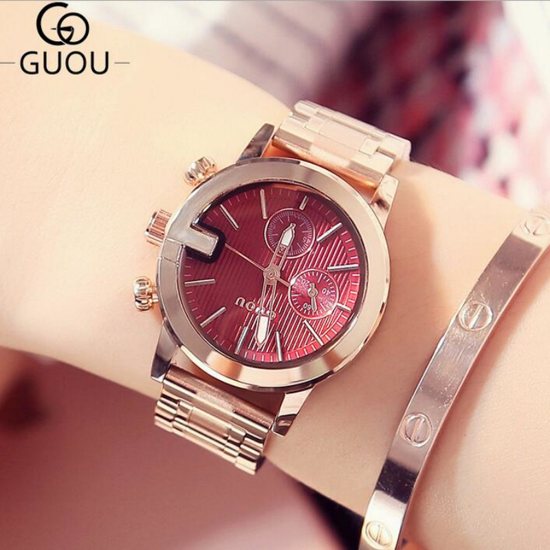 GUOU Luxury Rose Gold Watch Women Watches Fashion Women's Watches Ladies Watch Clock Bayan Saat Relogio Feminino Reloj Mujer guou watches women fashion leather auto date women s watch multi runtioan luxury ladies clock saat relogio feminino reloj mujer