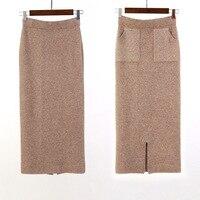 Winter Autumn Women Skirts Thickening Warm Split Rabbit Hair High Elasticity Long Skirt Elegant Knitted Pencil